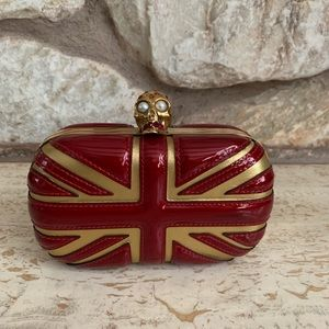 Alexander McQueen Britannia clutch red and gold